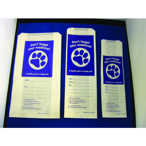 Vet Dispensing Bags Small 100(W) x 250 (L) x Gusset Opening 150mm*1000