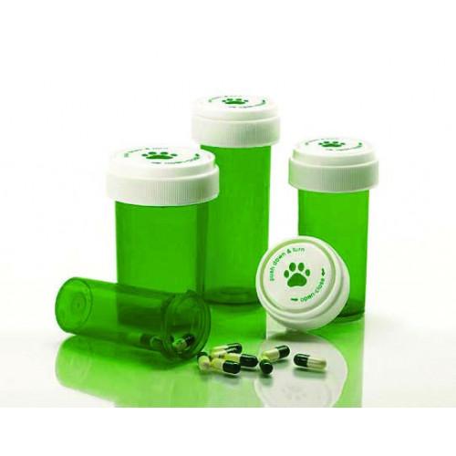 Pet Print GREEN 30cc Child Resistant Vials Includes Caps  (8D) *410