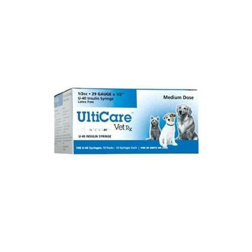 "UltiCare (Box) U-40 0.5ml 29g x 1/2"" Insulin Syringe*100"