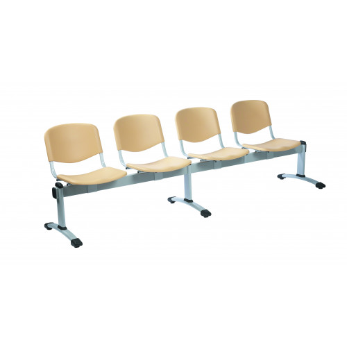 Visitor 4 Seat Module with 4 Visitor Moulded Plastic Seats Colour: BLACK
