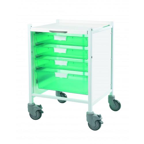 Vista 40 Trolley - Trays Green - 3 Single & 1 Double Tray*1