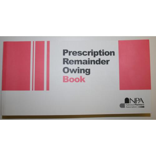 Prescription Remainder Owing Book*3
