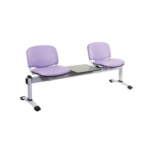 Visitor 3 Seat Module with 2 Visitor Moulded Plastic Seats plus 1 Magazine Table Colour: GREY
