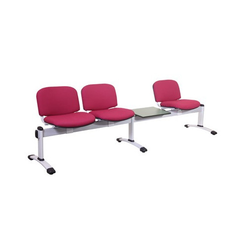 Visitor 4 Seat Module with 3 Visitor Moulded Plastic Seats + 1 Magazine Table Colour: GREY