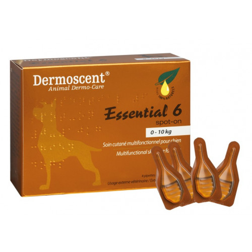 Dermoscent Essential 6® Spot-on for Dogs and Small Mammals 0-10Kg 0.6ml Pippette*4