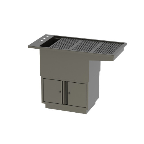 Tub Table w/under cupboard - All stainless steel construction with Knee Space 160x61x91.5cm* 1