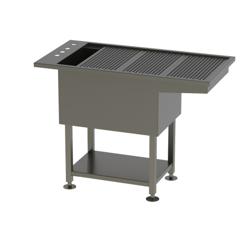 Tub Table w/ under shelf - All stainless steel construction with Knee Space 160x61x91.5cm* 1