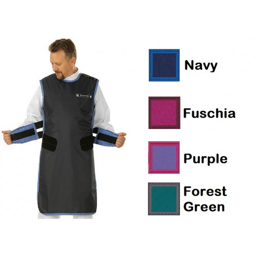 Large Kiran Coat Apron in Leadlite 0.35mm pb, Length 100cm, Navy Blue *1