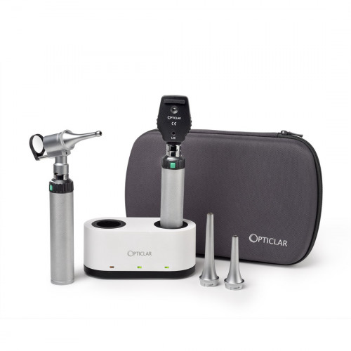 Opticlar VisionVet Set 3B - LED Ophthalmoscope, LED Slit Otoscope Head, 3 Heine Compatible Metal Specula, 2 x Lithium-ion Battery & Handle, Double Desk Charger, Auto ON/OFF*1