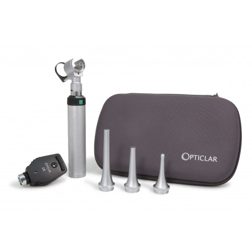 Opticlar VisionVet Set 1 - LED Ophthalmoscope, LED Slit Otoscope Head, 3 Heine Compatible Metal Specula, 1 x C cell Handle, Zip Case*1
