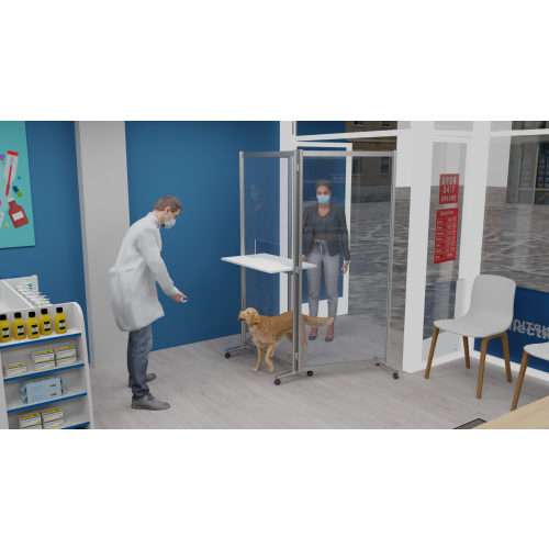 Mobile Acrylic Protective Screen Mobile Vet Booth